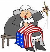 pic of betsy ross  - This illustration depicts American revolutionary era character Betsy Ross sewing a flag - JPG