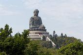 stock photo of lantau island  - Giant sitting Buddha statue at Po Lin Monastery on Lantau Island - JPG