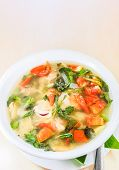 Thai food, spicy and sour seafood soup poster