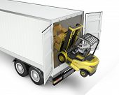 picture of semi trailer  - Fork lift truck falling from unsecured semi trailer isolated on white background - JPG