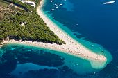 stock photo of promontory  - Aerial photograph of famous Zlatni Rat beach in Bol - JPG