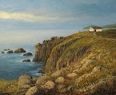 stock photo of landforms  - An oil painting on canvas of the most western point of United Kingdom - JPG