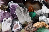 pic of quartz  - color gems as very nice natural mineral background - JPG