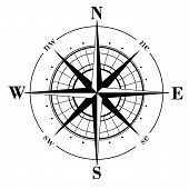 image of compass rose  - Black compass rose  - JPG