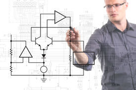 picture of ohm  - electrical engineer drawing circuit diagram on the whiteboard - JPG