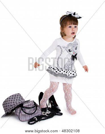 Lovely little girl isolated on white.