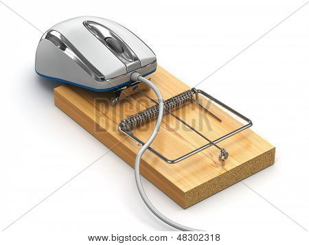 Concept of internet security. Computer mouse and mousetrap. 3d