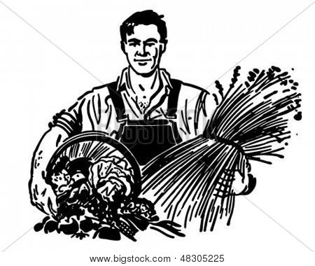 Farmer With Fresh Produce - Retro Clip Art Illustration