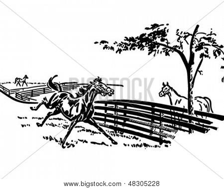 Playful Horse - Retro Clip Art Illustration
