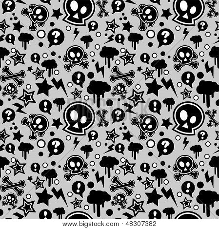 Seamless Pattern, Urban Or Punk Pop Feel