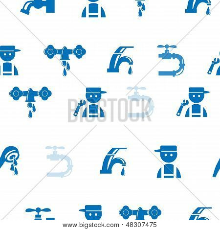 Blue Faucet / Tap Seamless Pattern