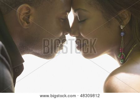 Portrait of couple touching noses