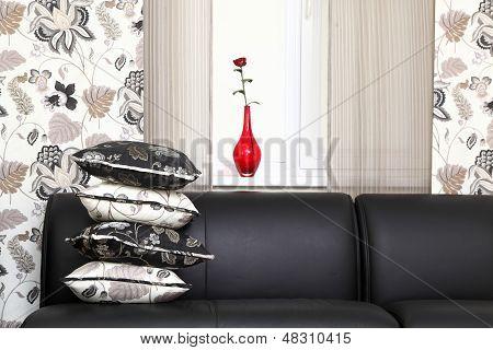Decorative Pillows On A Sofa