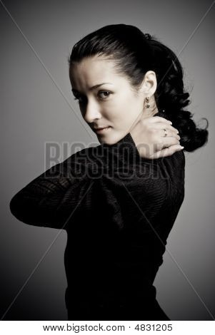 Low-key Studio Portrait Of Beautiful Woman