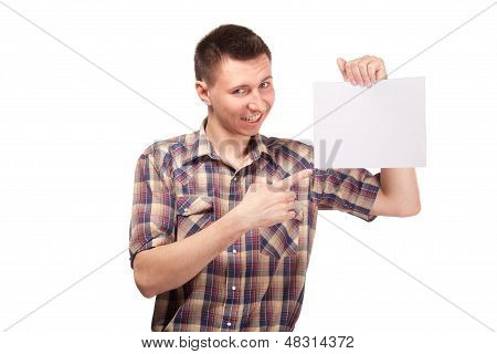 Man in a plaid shirt with blank white board
