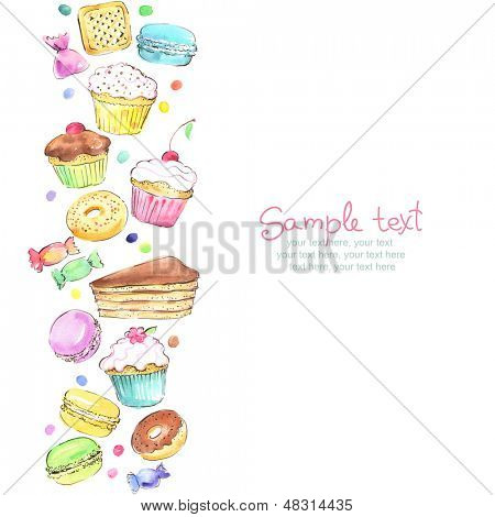 Watercolor vertical seamless pattern border with sweets
