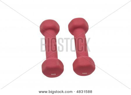 Isolated Pink One-kilo Dumbbells