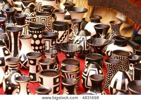 Black And White Pottery Cups