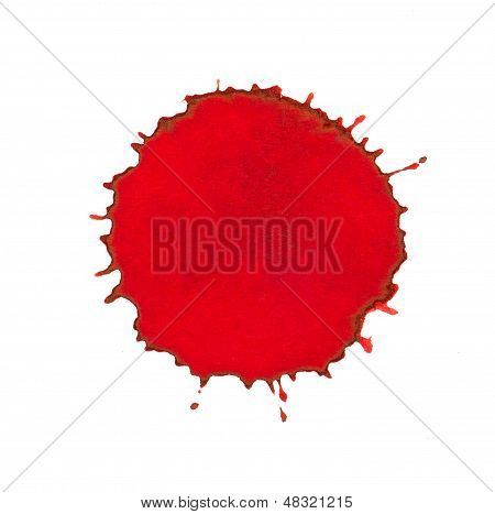 Red ink splash on a white background