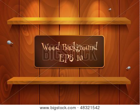 Cool vector wood background with shelf