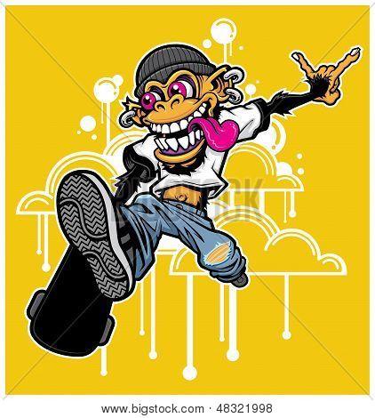 Skateboarding Monkey