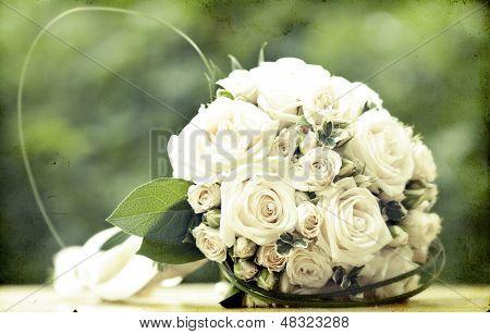 Foto de época de ramo de novia blanco