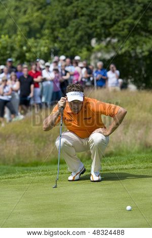 LOCH LOMOND, SCOTLAND - JUL 10 2009; Loch Lomond Scotland; Lee Westwood (GBR) lines up a putt on the 9th green competing in the second round of the PGA European Tour Barclays Scottish Open golf tournament.