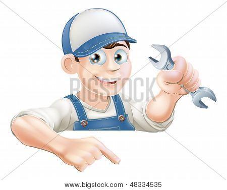 Cartoon Mechanic Peeking Over Sign