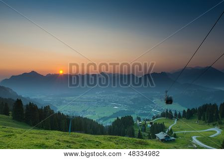 ropeway on mountain sunrise