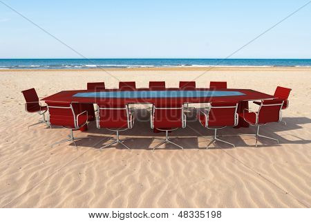 Meeting room by the water in a beach