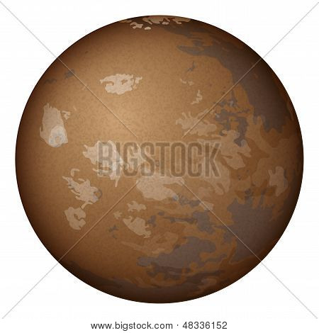 Planet Mars, isolated on white