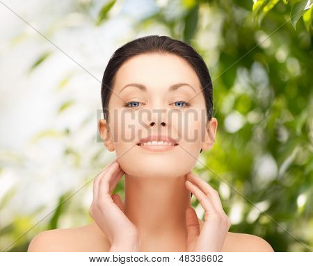 beauty and eco cosmetology concept - beautiful woman on nature