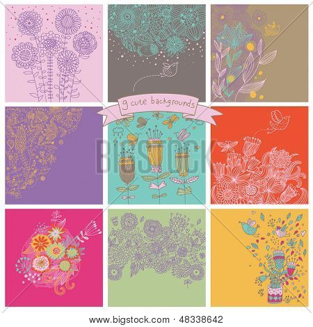 Vector set of cute nine floral backgrounds. Flowers, butterflies and birds - vintage cards in bright colors. Collection of elegance postcards. Wedding invitation design in retro style.