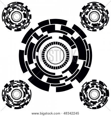Set of Five Black and White Futuristic Circle Charts. Vector Illustration