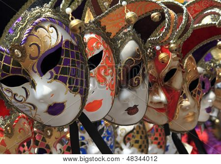 Group of Vintage venetian carnival masks