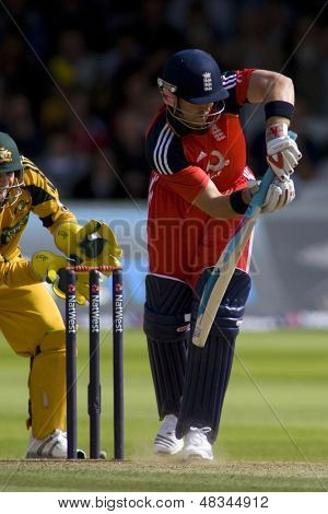 LONDON - 12 SEPT 2009; London England: England team captain Andrew Strauss plays defensive shot during the Nat West, 4th one day international cricket match  held at Lords Cricket ground