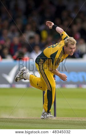 LONDON - 12 SEPT 2009; London England: Australia team player Brett Lee during the Nat West, 4th one day international cricket match between England and Australia held at Lords Cricket ground