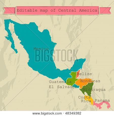 Editable Central America map with all countries.