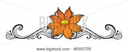 Illustration of a simple flower border on a white background