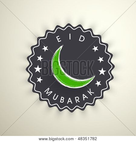 Tag, sticker or label with moon on grungy colorful background for Muslim community festival Eid Mubarak.