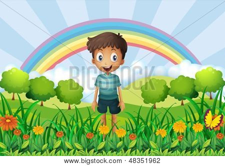 Illustration of a boy in the fields