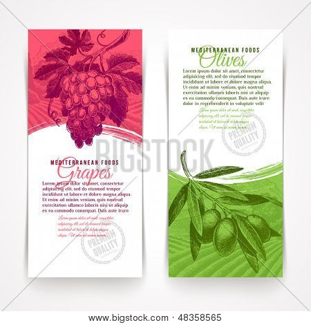 Vector vertical banners with hand drawn foods - grapes and olives