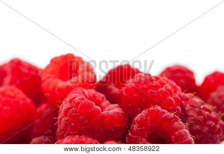 raspberries isolated on white.food,  juicy,  sugary ,pulpy,