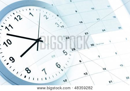 Clock face and calendar composite