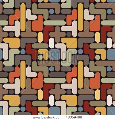 Vector Abstract Tetris Background - Vintage Seamless Color Pattern