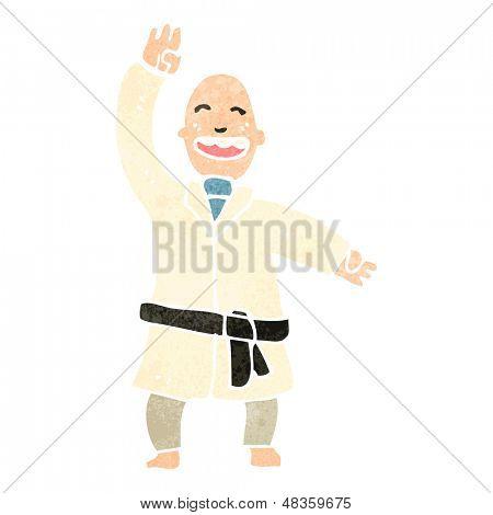 retro cartoon man performing karate chop
