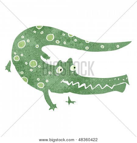 retro cartoon crocodile