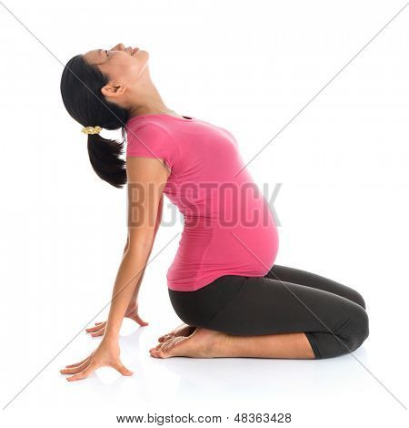 Pregnancy yoga. Full length healthy Asian pregnant woman doing yoga exercising stretching, full body isolated on white background.