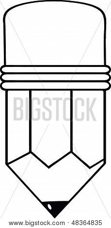 Outlined Cartoon Pencil