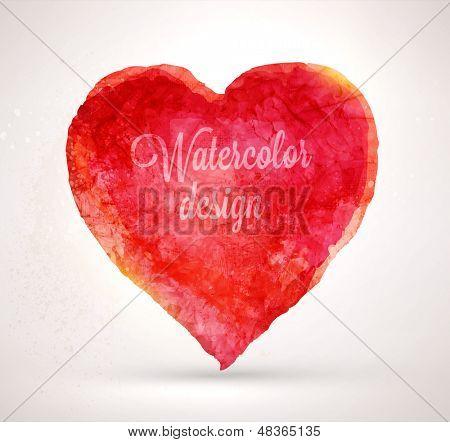 Watercolor vector heart for vintage design. Paper texture element